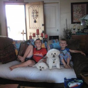 Christiano and Alex our other 2 grandsons with their favorites of the 6pack BellaMia and BoBo